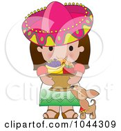 Royalty Free RF Clip Art Illustration Of A Chihuahua By A Cute Mexican Girl Carrying A Basket Of Fruit by Maria Bell