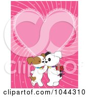 Kissing Valentine Puppies Over A Pink Heart Background