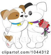 Royalty Free RF Clip Art Illustration Of A Sweet Puppy Kissing Her Boyfriend On The Cheek by Maria Bell