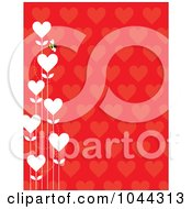 Bee With White Heart Flowers On A Red Heart Pattern Background