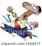 Royalty Free RF Clip Art Illustration Of A Cartoon Black Businessman Breaking Through The Finish Line Ribbon