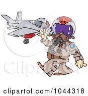 Royalty Free RF Clip Art Illustration Of A Cartoon Fighter Pilot Near His Jet