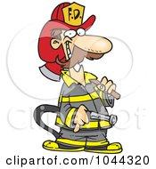 Cartoon Fire Fighter Carrying An Axe And Hose