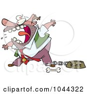 Royalty Free RF Clip Art Illustration Of A Cartoon Fierce Boss Tied Up By A Dog Bowl by toonaday