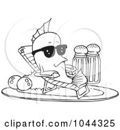 Royalty Free RF Clip Art Illustration Of A Cartoon Black And White Outline Design Of A Fish Relaxing On A Plate