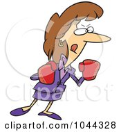 Royalty Free RF Clip Art Illustration Of A Cartoon Feisty Businesswoman Wearing Boxing Gloves