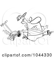 Royalty Free RF Clip Art Illustration Of A Cartoon Black And White Outline Design Of A Man Running From A Lawn Mower by toonaday