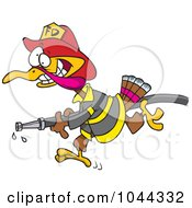 Royalty Free RF Clip Art Illustration Of A Cartoon Fire Fighter Turkey Carrying A Hose