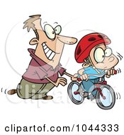 Royalty Free RF Clip Art Illustration Of A Cartoon Father Teaching His Boy To Ride A Bike by toonaday