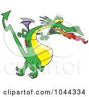Royalty Free RF Clip Art Illustration Of A Cartoon Fire Breathing Dragon In Flight by toonaday
