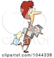 Royalty Free RF Clip Art Illustration Of A Cartoon Businesswoman Carrying And Dropping Files by toonaday