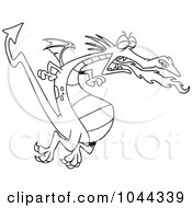 Royalty Free RF Clip Art Illustration Of A Cartoon Black And White Outline Design Of A Fire Breathing Dragon In Flight by toonaday