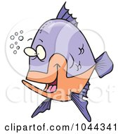 Cartoon Happy Fish With Bubbles