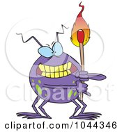 Cartoon Fire Bug Holding A Match