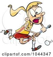 Royalty Free RF Clip Art Illustration Of A Cartoon Girl Playing Field Hockey by toonaday