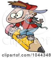 Royalty Free RF Clip Art Illustration Of A Cartoon School Boy Riding A Pencil