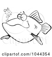 Cartoon Black And White Outline Design Of A Happy Fish