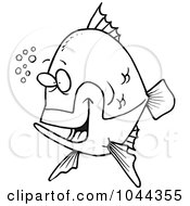 Cartoon Black And White Outline Design Of A Happy Fish With Bubbles