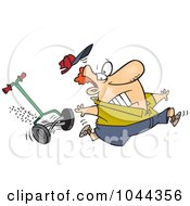 Royalty Free RF Clip Art Illustration Of A Cartoon Man Running From A Lawn Mower