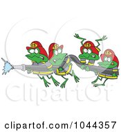 Royalty Free RF Clip Art Illustration Of Cartoon Fire Frogs Holding A Hose