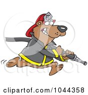 Royalty Free RF Clip Art Illustration Of A Cartoon Fire Fighter Bear Carrying A Hose