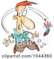 Royalty Free RF Clip Art Illustration Of A Cartoon Rocket Firework Going Through A Mans Belly