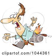 Cartoon Businessman Running With His Pants On Fire