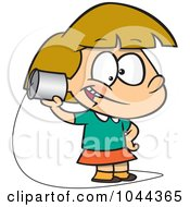 Royalty Free RF Clip Art Illustration Of A Cartoon Girl Using A Can Phone