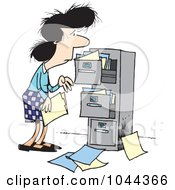 Royalty Free RF Clip Art Illustration Of A Cartoon Businesswoman At A Messy Cabinet by toonaday