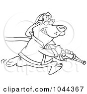 Royalty Free RF Clip Art Illustration Of A Cartoon Black And White Outline Design Of A Fire Fighter Bear Carrying A Hose by toonaday