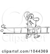 Royalty Free RF Clip Art Illustration Of A Cartoon Black And White Outline Design Of A Fire Fighter Carrying A Ladder by toonaday