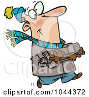 Royalty Free RF Clip Art Illustration Of A Cartoon Winter Man Carrying Firewood