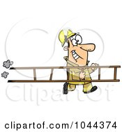 Royalty Free RF Clip Art Illustration Of A Cartoon Fire Fighter Carrying A Ladder