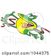 Cartoon Hopping Frog Breaking Through The Finish Line Ribbon