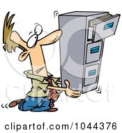 Royalty Free RF Clip Art Illustration Of A Cartoon Businessman Carrying A Filing Cabinet by toonaday