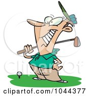 Royalty Free RF Clip Art Illustration Of A Cartoon Man Grinning At The Golf Course
