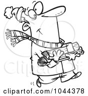 Royalty Free RF Clip Art Illustration Of A Cartoon Black And White Outline Design Of A Winter Man Carrying Firewood