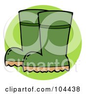 Royalty Free RF Clipart Illustration Of A Pair Of Green Gardeners Rubber Boots