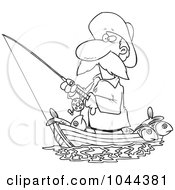 Royalty Free RF Clip Art Illustration Of A Cartoon Black And White Outline Design Of A Fisherman Standing In His Boat