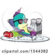 Royalty Free RF Clip Art Illustration Of A Cartoon Fish Relaxing On A Plate
