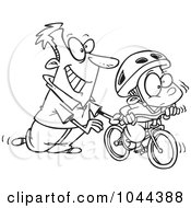 Royalty Free RF Clip Art Illustration Of A Cartoon Black And White Outline Design Of A Father Teaching His Boy To Ride A Bike by toonaday