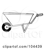 Royalty Free RF Clipart Illustration Of A Coloring Page Outline Of A Gardening Wheel Barrow