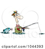 Royalty Free RF Clip Art Illustration Of A Cartoon Fish Sticking His Tongue Out At A Wading Fisherman by toonaday