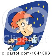 Royalty Free RF Clip Art Illustration Of A Cartoon Boy Catching Fire Flies by Ron Leishman