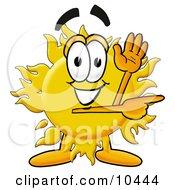 Sun Mascot Cartoon Character Waving And Pointing
