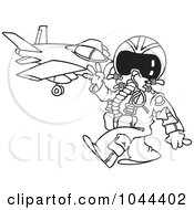 Royalty Free RF Clip Art Illustration Of A Cartoon Black And White Outline Design Of A Fighter Pilot Near His Jet
