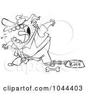 Royalty Free RF Clip Art Illustration Of A Cartoon Black And White Outline Design Of A Fierce Boss Tied Up By A Dog Bowl by toonaday