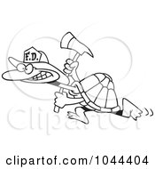 Royalty Free RF Clip Art Illustration Of A Cartoon Black And White Outline Design Of A Fire Fighter Tortoise Carrying An Axe by toonaday