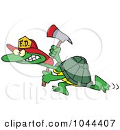 Royalty Free RF Clip Art Illustration Of A Cartoon Fire Fighter Tortoise Carrying An Axe by toonaday