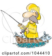 Cartoon Fisherman Standing In His Boat